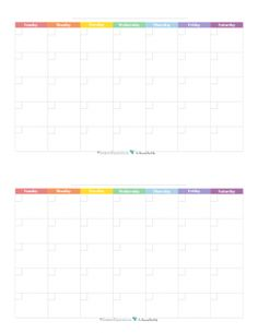 This free printable monthly calendar prints two 4.25 x 5.5 per 8.5x11 page and features a rainbow colour scheme