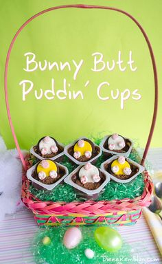 Bunny Butt Puddin' Cup Easter Dessert - Need a cute and easy Easter treat? Create these Bunny Butt Easter Pudding Cups. They are simple enough for the kids to help out with.