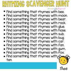Rhyming is an important pre-reading skill Rhyming Activities, Kindergarten Literacy, Fun Learning, Learning Activities, Family Activities, Summer School Activities, Blended Learning, Indoor Activities, Toddler Activities