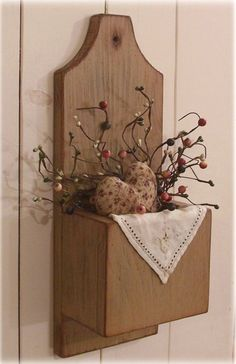 Primitive Door Box Wall Pocket Cubby Box Candle Keep / by Sawdusty, $32.00