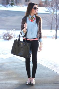 collar necklace w a denim button-down w a cardigan w flats - so sweet