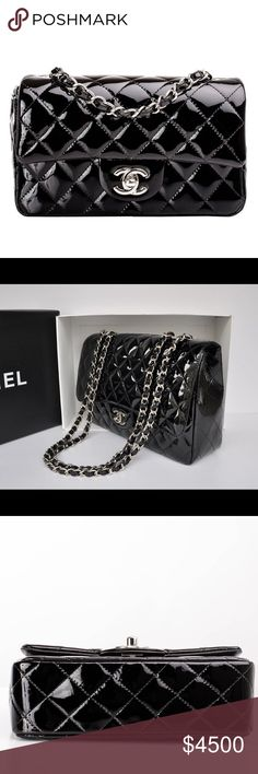 Handbag Chanel classic flap bag in black patent with silver hardware.  The outside of the bag has no signs of wear. There are a few minor fingernail scratches on the inside flap. CHANEL Bags