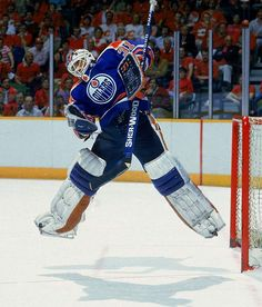 Grant Fuhr - No goalie was ever better at turning in a big stop at a key moment, and he has the Stanley Cups and a Vezina Trophy to prove it. For good measure, Fuhr scored 14 points in a single-season record for goaltenders. Goalie Gear, Hockey Helmet, Goalie Mask, Hockey Goalie, Field Hockey, Hockey Shot, Ice Hockey Teams, Hockey Stuff, Patrick Roy