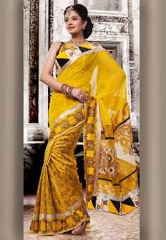 #Yellow Faux #Chiffon and #Art #Silk #Saree with Blouse  Itemcode: SKK15491  Price: $75.76  #Shop Now @ http://www.utsavfashion.com/saree/yellow-faux-chiffon-and-art-silk-saree-with-blouse/skk15491-itemcode