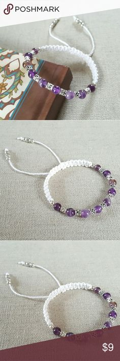 """Amethyst Beaded White Hemp Bracelet This is a brand new amethyst beaded bohemian friendship hemp bracelet.   It is handmade with natural amethyst,  silver plated carved tube beads and round beads, and white hemp cords.   This bracelet will look nice to wear alone or layer with other bracelets.  SIZE:  6.5""""  adjustable Jewelry Bracelets"""