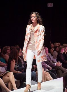 Joanne Coat in Abstract Tweed with Gold Roxanne Cowl Neck Blouse for Spring 2014...