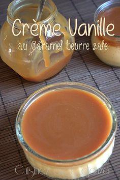 Crème au oeufs et au caramel beurre salé - 250 ml  de lait entier - 250 ml de crème fraîche entière à 30%  -2 œufs entiers, 2 jaunes d'œufs - 110 gr de sucre en poudre - 1 gousse de vanille grattée - Caramel beurre salé