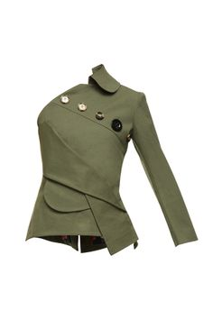 Khaki one-sleeve vest Khaki Vest, Green Vest, Casual Day Dresses, Character Outfits, Green Tops, Military Fashion, Coats For Women, Womens Fashion, Sleeves
