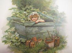 Antique Child's Book Print  Illustration  Child by CottageEphemera, $12.00