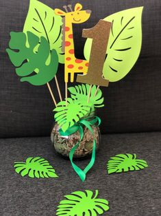 Zoo Theme Birthday Party Centerpieces,Set of 3 (Two leaves and 1 zoo animal ),Jungle theme Party Deco,Safari Party Deco,Monkey Baby shower Zoo Theme Birthday Party CenterpiecesSet of 3 Two leaves and image 2 Safari Theme Birthday, Baby Boy 1st Birthday Party, Jungle Theme Parties, Dinosaur Birthday Party, Animal Birthday, Birthday Party Themes, Jungle Party, Jungle Theme Cakes, Frozen Birthday