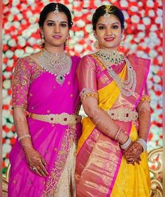 Rocking a south Indian traditional look and how! Indian Bridal Sarees, Indian Bridal Outfits, Wedding Silk Saree, Indian Bridal Wear, Half Saree Designs, Bridal Blouse Designs, Lehenga Designs, Yellow Saree, Bride Portrait
