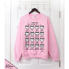 Japanese Kitty Emoticon Crewneck Sweatshirt- Sweetheart Pink ($32) ❤ liked on Polyvore featuring tops, hoodies, sweatshirts, shirts, sweaters, earl sweatshirt shirt, fleece lined sweatshirt, sweatshirts hoodies, sweat shirts and crew neck shirts