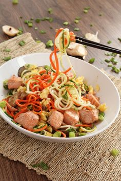 Ginger Garlic Salmon Carrot & Zucchini Noodle Bowl with Shiitake & Oyster Mushrooms