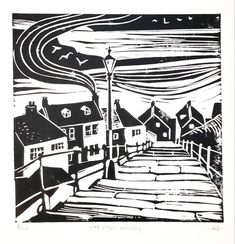 Seaside Towns, Coastal Art, Paper Dimensions, Windmill, Teal Blue, Yorkshire, Primary Colors, Dark Grey, Printmaking