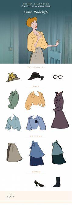 Disney Character Capsule Wardrobe: Anita Radcliffe | [ https://style.disney.com/fashion/2016/04/14/disney-character-capsule-wardrobe-anita-radcliffe/ ]