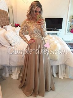 Buy Hot Selling Luxurious Cowl Floor Length Gold Evening/Party/Prom Dress With Long Sleeves Special Occasion Dresses under $199.99 only in SimpleDress.