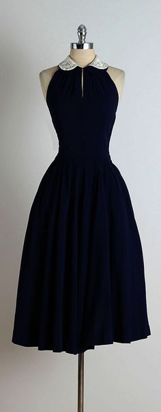 1950s Blue Jeweled Collar Halter Dress | From a collection of rare vintage day dresses at