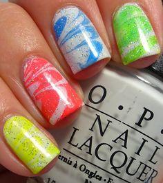 Pinpoint Polish!: Neon Water Marble Take 2...