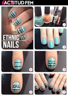 "Top 10 DIY Easy Nail Art Ideas (except the title ""ethnic nails"" is completely ridiculous) Cute Nail Art, Nail Art Diy, Easy Nail Art, Diy Art, Love Nails, Fun Nails, Pretty Nails, Diy Nails Tutorial, Nail Tutorials"