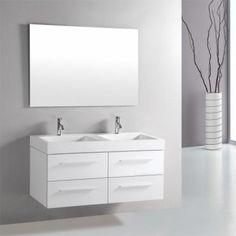 New Unique Contemporary Modern Double Bathroom Vanity w Free Mirror Luxury Bathroom Vanities, Modern Bathroom, Bathroom Ideas, White Counters, White Vanity, Modern Vanity, Basins, Faucets