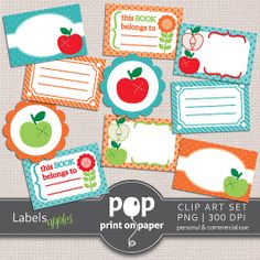 Apples - 10 Labels Clip Art - PNG - 300 DPI - Personal & Commercial use - Back to school invites, labels for children's belongings Teacher Appreciation Notes, Hungry Caterpillar Party, Party Invitations, Invites, Party Banners, Printable Planner Stickers, Craft Business, Craft Kits, Back To School