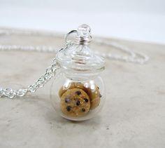 Chocolate Chip Cookie Jar Necklace Miniature Food Jewelry. $24.75, via Etsy.
