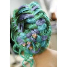 Rainbow Pastel Hair Is A New Trend Among Women ❤ liked on Polyvore featuring hair and rainbow hair