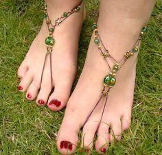 Green glass bead barefoots.