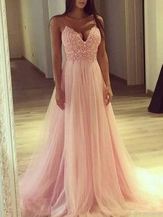 Robe maxi longue avec dentelle tulle spaghetti v-cou élégant de soirée rose