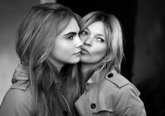 Cara Delevingne and Kate Moss Make It Rain for Burberry