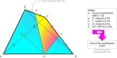Geometry Problem 946: Triangle, Quadrilateral, Area, Diagonal, Midpoint, Parallel. Level: High School, College, Mathematics Education.