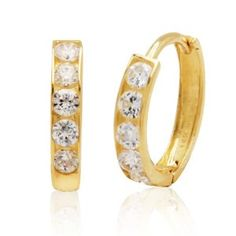 14k Yellow Gold Cubic Zirconia Channel-Set Baby Hoop Earrings  http://electmejewellery.com/jewelry/childrens-jewelry/14k-yellow-gold-cubic-zirconia-channelset-baby-hoop-earrings-com/