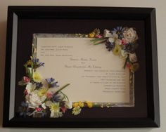 Wedding Shadow Box Examples | Single Page Wedding Invitation Shadow Box by WallflowerMemories