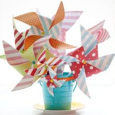 pinwheels in the centerpieces. You could make larger ones for front porch or existing planters