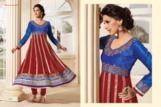 Stunningly Beautiful Maroon and Blue colored Georgette Anarkali with awesome Embroidery work en-crafted. Comes along with Matching Shantoon Bottom and Chiffon Duppatta finely Embroidered.