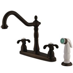 Kingston Brass KB1755TX French Country Double Handle 8 Centerset Kitchen Faucet with White Sprayer