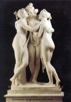 THE KHARITES (Roman GRATIAE) known as the 3 GRACES. Aglaea Goddess of splendor. Euphrosyne Goddess of mirth. Thalia Goddess of good cheer. They are the daughters of Zeus and Eurynome an Oceanid Goddess. The Goddesses were born to fill the world with pleasant moments and good will. The three Graces were usually depicted in classical sculpture and mosaic as three naked women, holding hands and dancing in a circle. They were sometimes crowned with myrtle and held sprigs of myrtle in their…