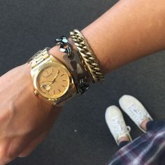 Chunky Gold-colored Watch MSRP $58 Chunky gold-colored watch to spice up any arm party. Water resistant. Made from base metals, lead-free, nickel-free. Adjustable links and closure. Brand new retail item. MSRP $58 T&J Designs Accessories Watches