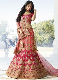 Buy Peach & Hot Pink Stone Work Satin Silk Lehenga Choli online in India at best price.Peach And Hot Pink Stone Work Satin Silk Lehenga Choli Wedding Lehenga Online, Indian Wedding Lehenga, Bridal Lehenga Choli, Silk Lehenga, Heavy Lehenga, Lehnga Dress, Lehenga Blouse, Indian Lehenga, Silk Dupatta