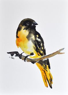 ORIGINAL Watercolor bird painting 6x8 Inch Goldfinch