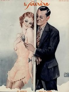 FLAPPER ERA Vintage advertisement or cover to magazine - 28 April 1932.  / Risquee, yet innocent. The invention of the NYLONS ... the clasp showing ... became an erotic element for generations to follow. Romance, a door ... trust & modesty. Respect & madLove... a lovely image, methinks.