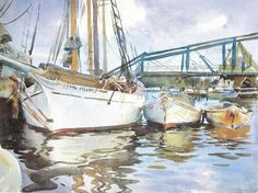 john singer sargent - notice simple shading on boat and min. rigging lines