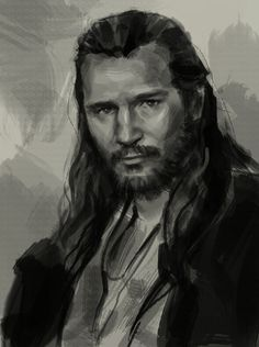 How to draw portrait Qui-Gon Jinn. This site has lots of free tutorials for digital drawing and painting.