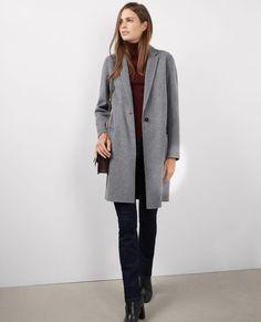 Manteau officier avec laine Medium heather grey - Bexpresso   Comptoir des Cotonniers