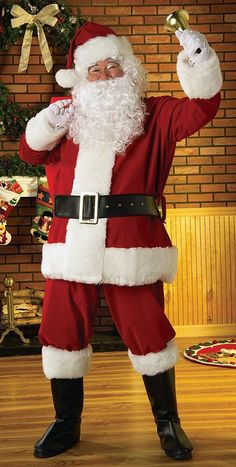 Our Regal Plush Santa Suit is made with faux fur trim and includes a lined jacket with a zipper front, pants with pockets, a Santa hat, a belt with a 3in. by 5in. buckle, boot tops, a white Santa wig and beard set, and a reusable vinyl zipper bag. Additional Santa costume accessories and props are available and sold separately.