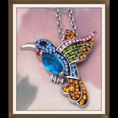 """🎉HP Hummingbird Pendant, AAA Crystals NEW Hummingbird Pendant featuring AAA grade Multi Color Austrian Crystal With Chain (20 in) in Stainless Steel. Pendant is 1 1/2"""" high, 1 3/4"""" across. Vivid beautiful color. FINAL PRICE Jewelry"""