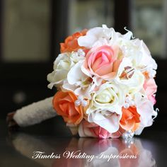 Bridal Bouquet Orchids Coral Wedding Peach Roses Pearls Lace Real Touch Silk Flowers on Etsy, $185.00
