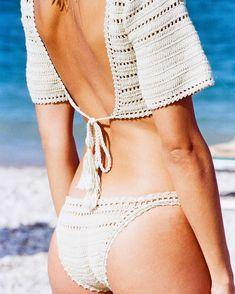 The Sana Crop Bikini Top and Cheeky Bikini Bottom ∙ by ∙ Crochet Bikini Pattern, Crochet Halter Tops, Crochet Crop Top, Crochet Lace, Crop Top Bikini, Cheeky Bikini, Tan Bikini, Mode Crochet, Crochet Summer Tops