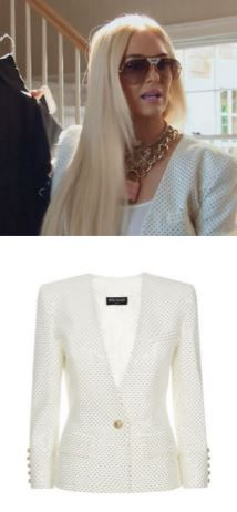 Erika Girardi's White Embellished Jacket in the Hamptons on The Real Housewives of Beverly Hills http://www.bigblondehair.com/real-housewives/rhobh/erika-girardis-white-crystal-embellished-jacket/ Balmain