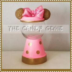 Minnie Mouse Gold and Pink Candy Gumball Machine by TheCandyGenie